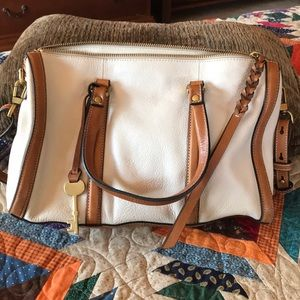 Fossil leather crossbody satchel